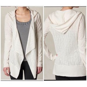 PRANA sheer print open front hooded cardigan small